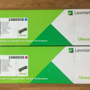 2 Genuine Lexmark 24B6509 and 24B6508 CM Toner